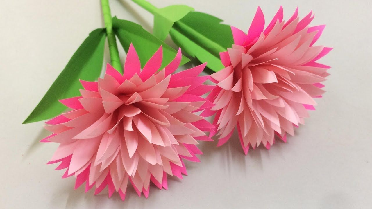 How to Make Beautiful Flower with Paper - Making Paper Flowers Step by S... #largepaperflowers