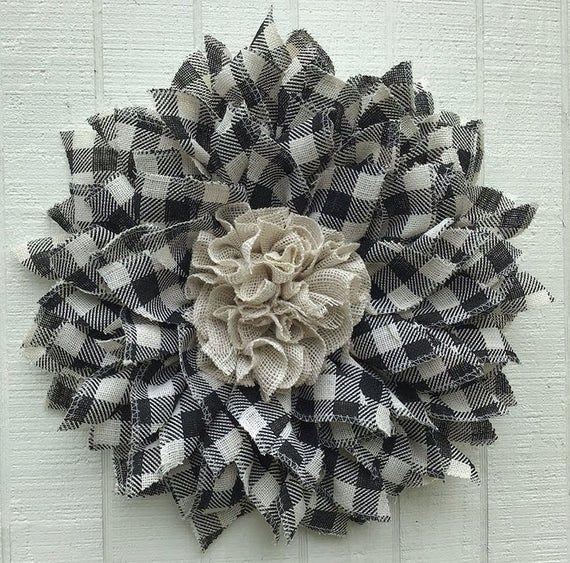 Photo of Farmhouse Buffalo Plaid Burlap Wreath, Everyday Decor, Front Door Decor, Black and White Checkered, Ready to Ship, Gwili Creations