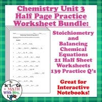 Stoichiometry Worksheets  Chemistry Chemistry And More Chemistry