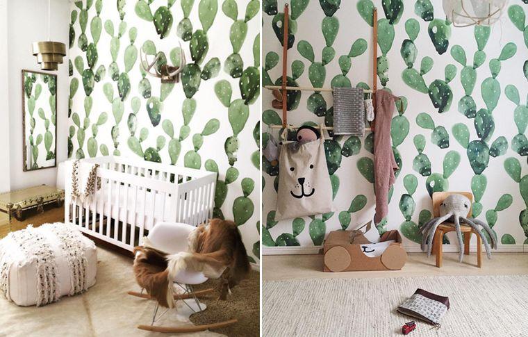 Inspiration décoration chambre denfant la cactus mania une belle tapisserie à motifs