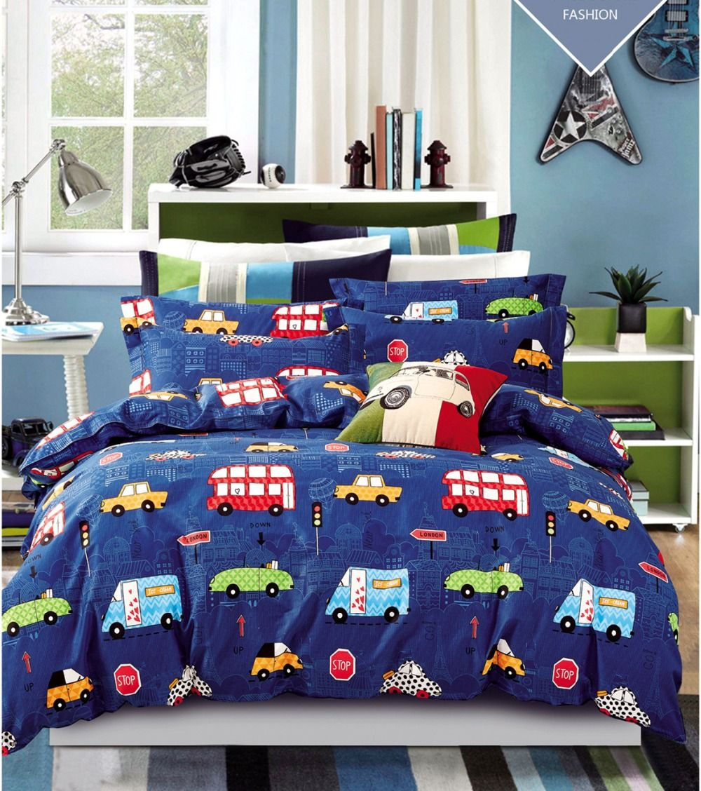 3pcs Cars Bedding Sets Purple Car Bed Sheets Vintage Style Queen King S Kids Boys Sheet Set 100 Cotton In From Home