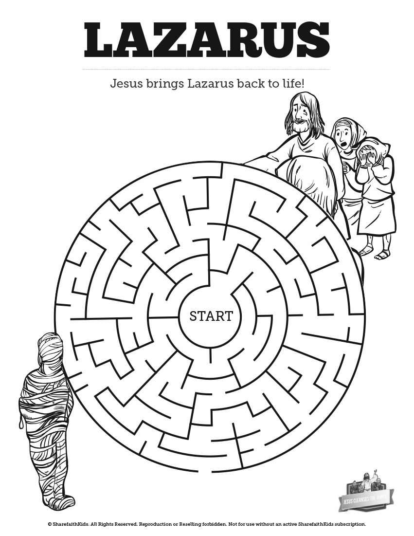 John 11 Lazarus Bible Mazes Can Your Kids Navigate Each Twist And Turn Of Thi Sunday School Lessons Sunday School Crafts For Kids Sunday School Coloring Pages