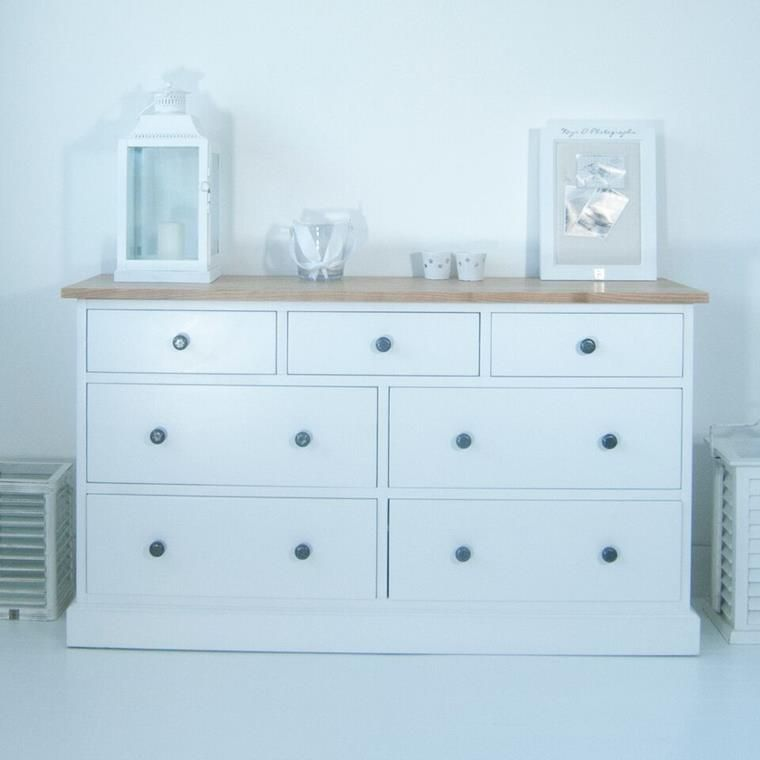 Maine Large White Chest of Drawers with Ash Top | Home {Owen ...