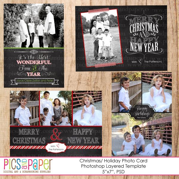 Chalkboard christmas cards psd template 4 different photoshop templates of christmas photo for Photoshop christmas cards templates