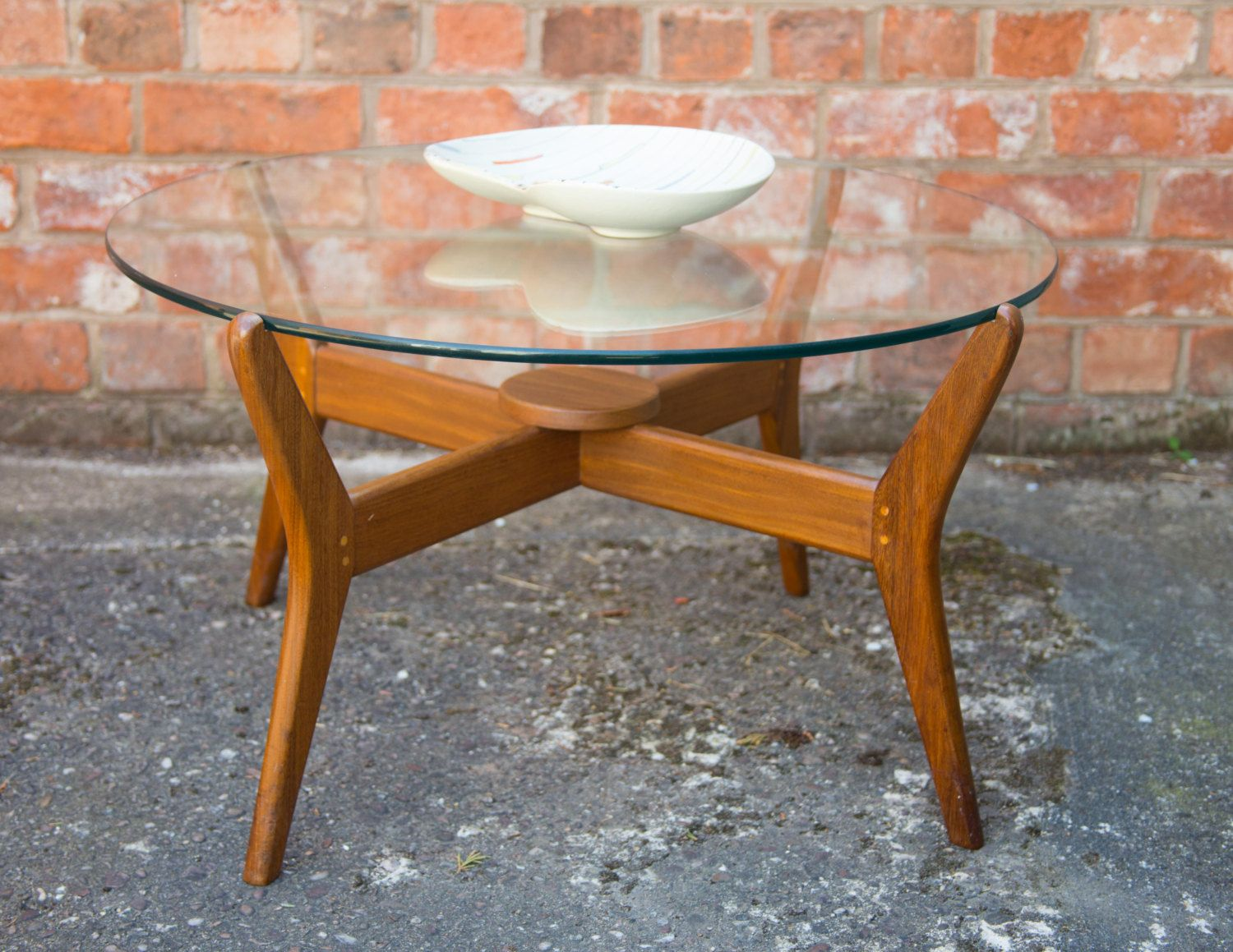 vintage round glass top coffee table g