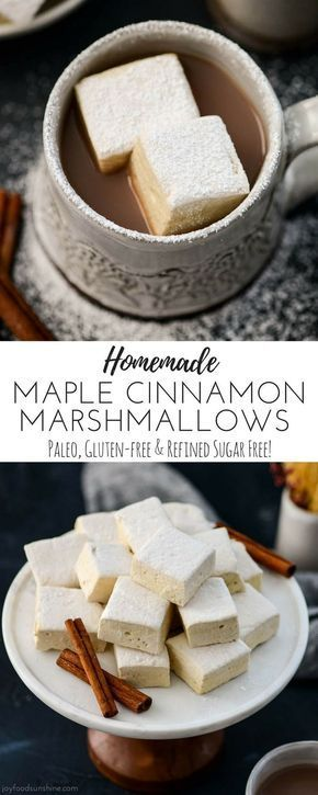 Maple Cinnamon Homemade Marshmallows! A recipe for homemade marshmallows that's easy and healthy! They're paleo, gluten-free, dairy-free, refined sugar free and insanely delicious! #marshmallows