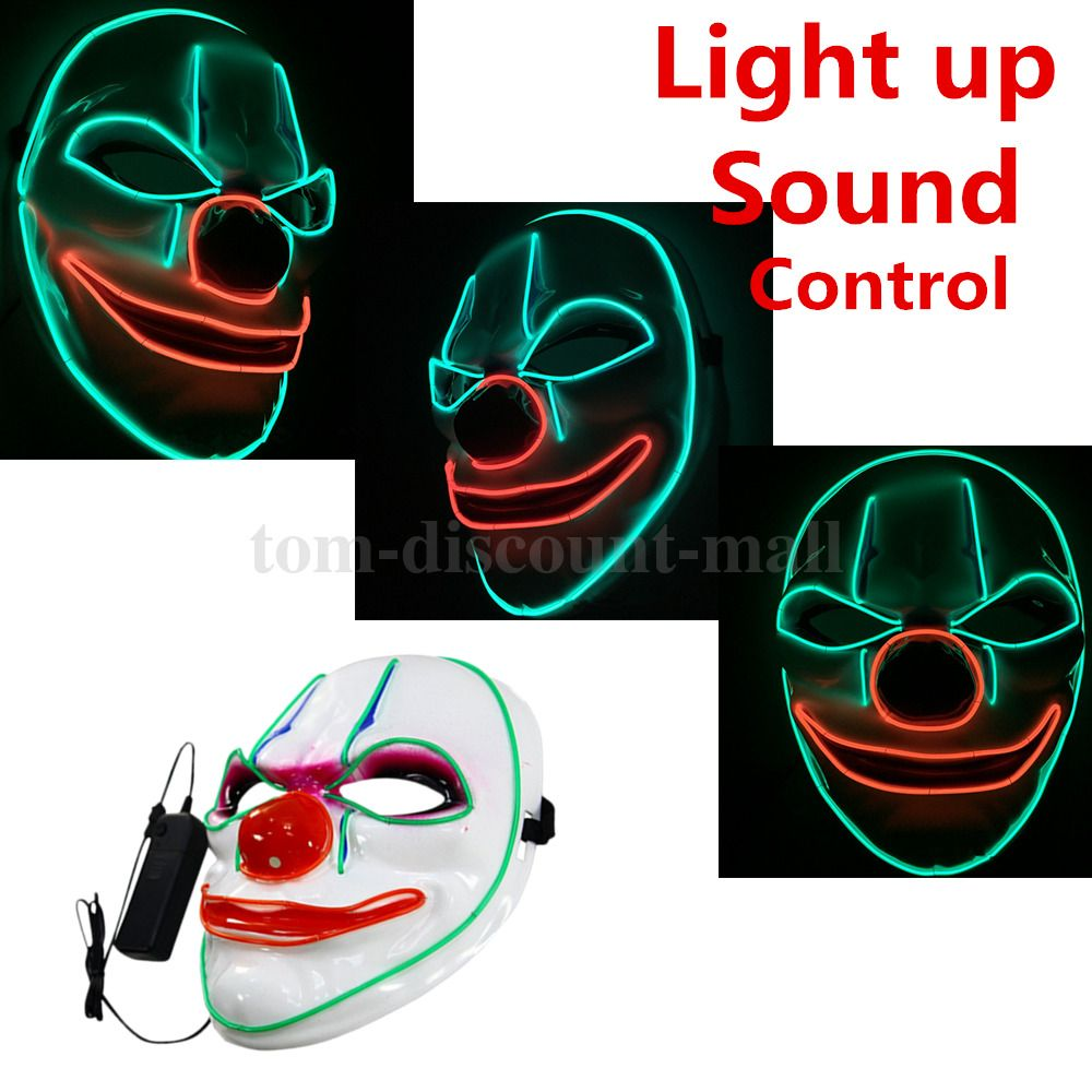 LED Light Up Payday 2 Clown + control Face Mask Scary