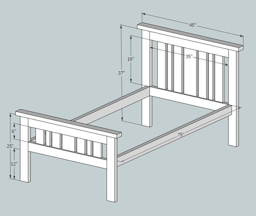 Simple 2x4 Misson Style Bed Delete Frame Plans Diy