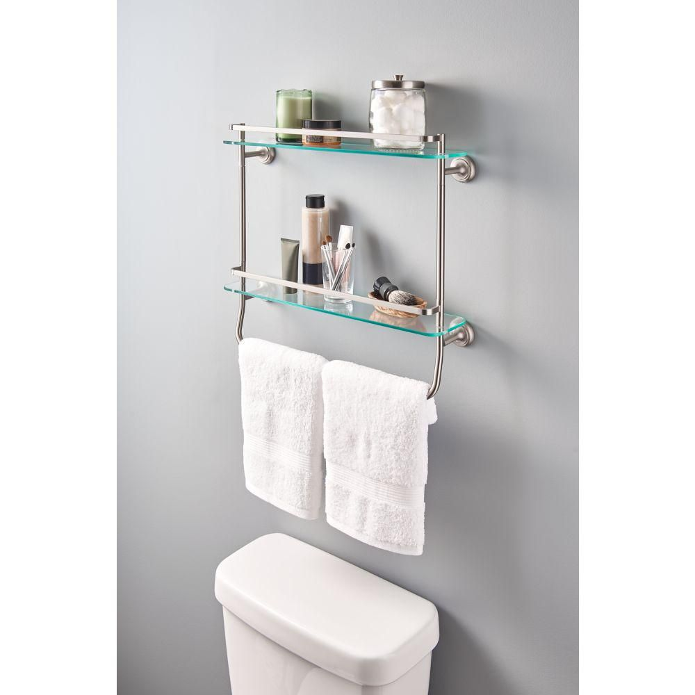Delta 4 In W Double Glass Shelf With Towel Bar In Brushed Nickel