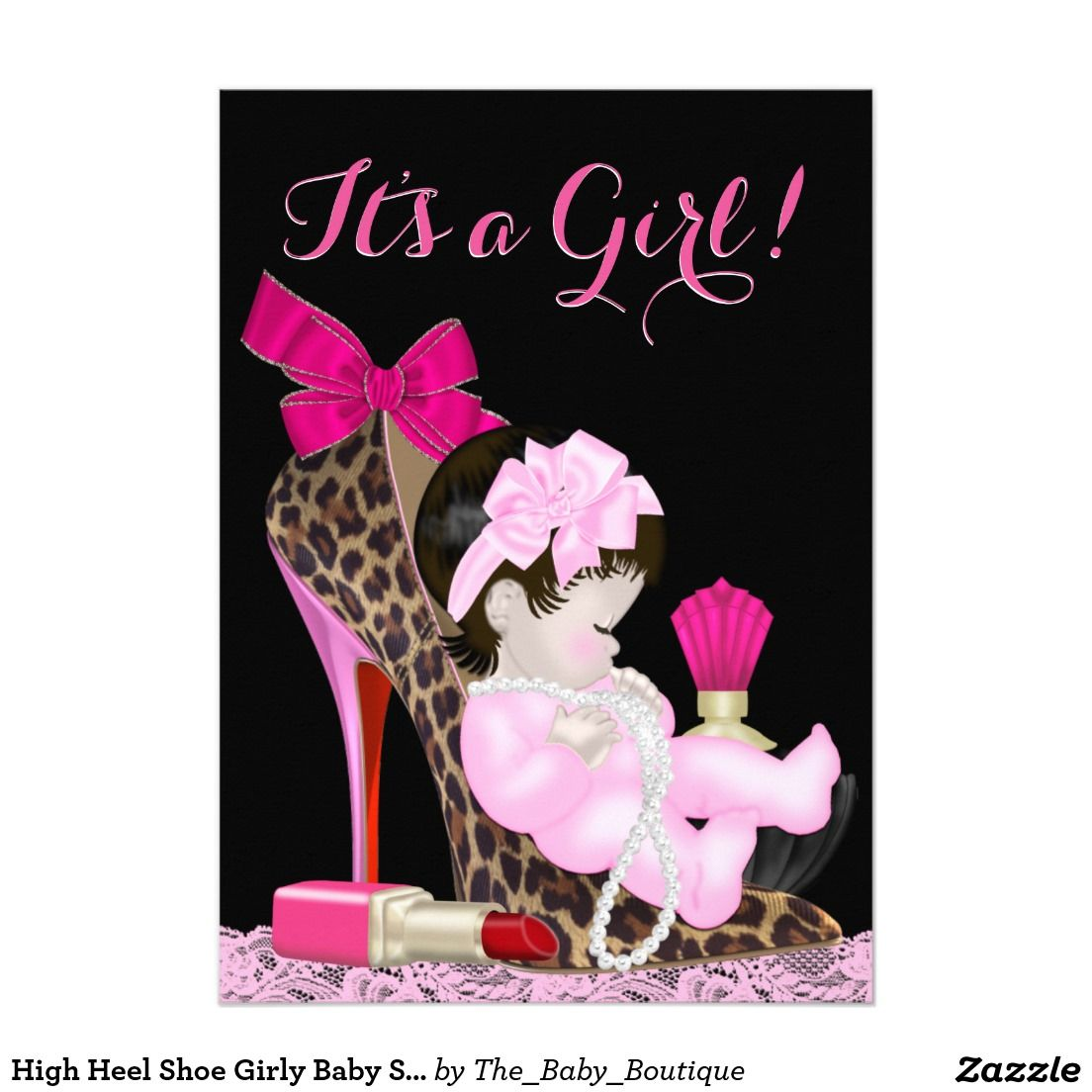 High Heel Shoe Girly Baby Shower 5x7 Paper Invitation Card | High ...