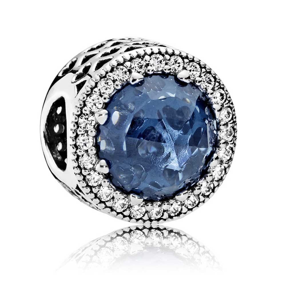 2019 New 925 Silver Love Heart Blue Zirconia Charm Bracelet for Women Christmas