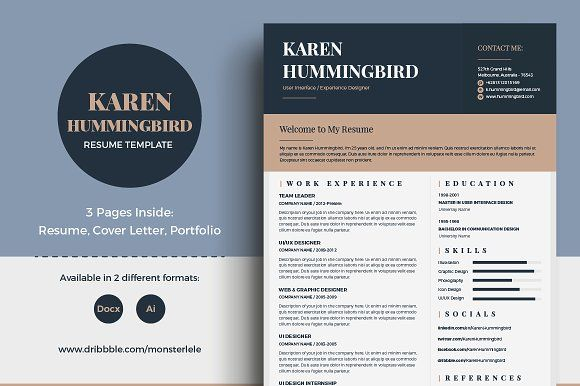 Karen Hummingbird Resume (3 Pages) by Template Olympus on