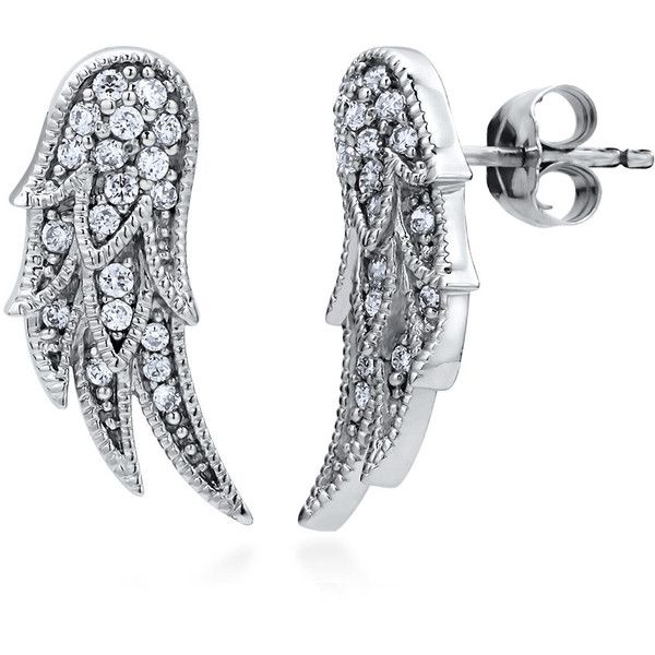 Berricle Sterling Silver Cz Angel Wings Fashion Stud Earrings 33 Liked On Polyvore Featuring Jewelry Clear