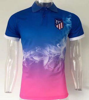 b2d889fb26cdc Atletico Madrid 2017-18 Season Blue Smog Design Polo Shirt  K575 . 2017  Polo Jersey Atletico Madrid Smoke Pattern ...