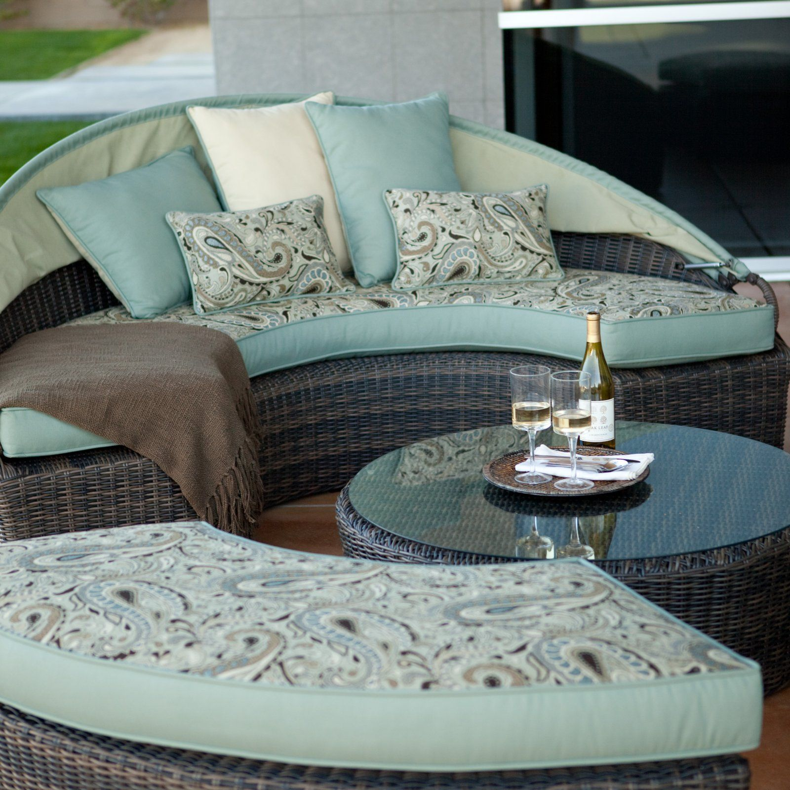Rendezvous allweather wicker reversible cushion sectional daybed