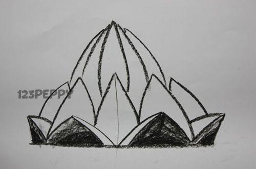How To Draw A Lotus Temple Lotus In 2019 Lotus Drawings En