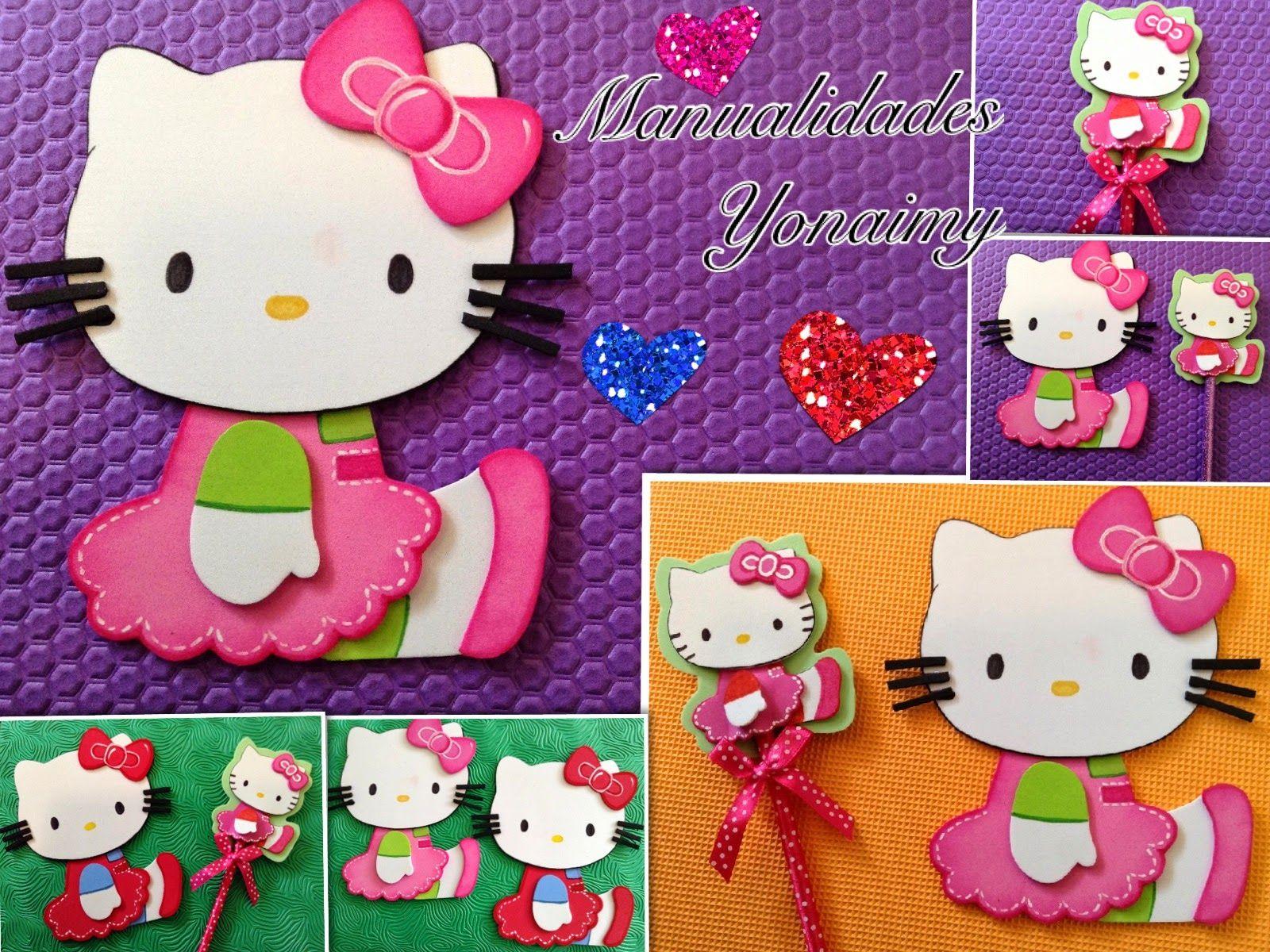 Scrapbook ideas hello kitty - Manualidades Yonaimy Hello Kitty De Foamy O Goma Eva Para Adornar
