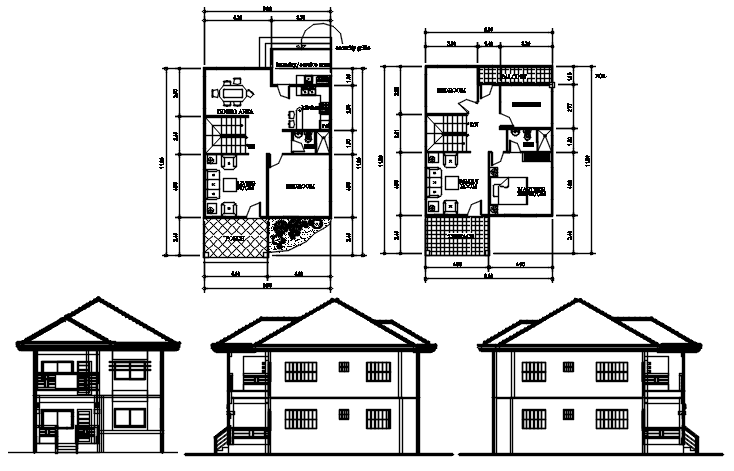 Floor Plan Of 2 Storey House 8 00mtr X 11 80mtr With Detail Dimension In Dwg File Which Provide Two Storey House Plans 2 Storey House Double Storey House Plans