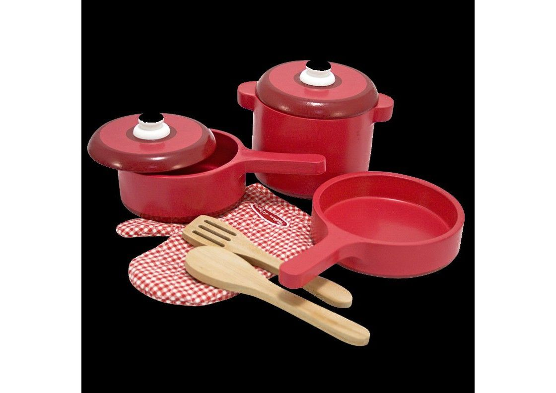 Melissa doug deluxe wooden kitchen accessory set pots