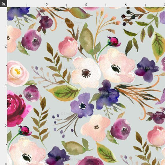 dbe62a1d089 Watercolor Floral Fabric by the Yard Cotton Baby Girl Nursery Fabric  Flowers Fabric Minky Organic Co
