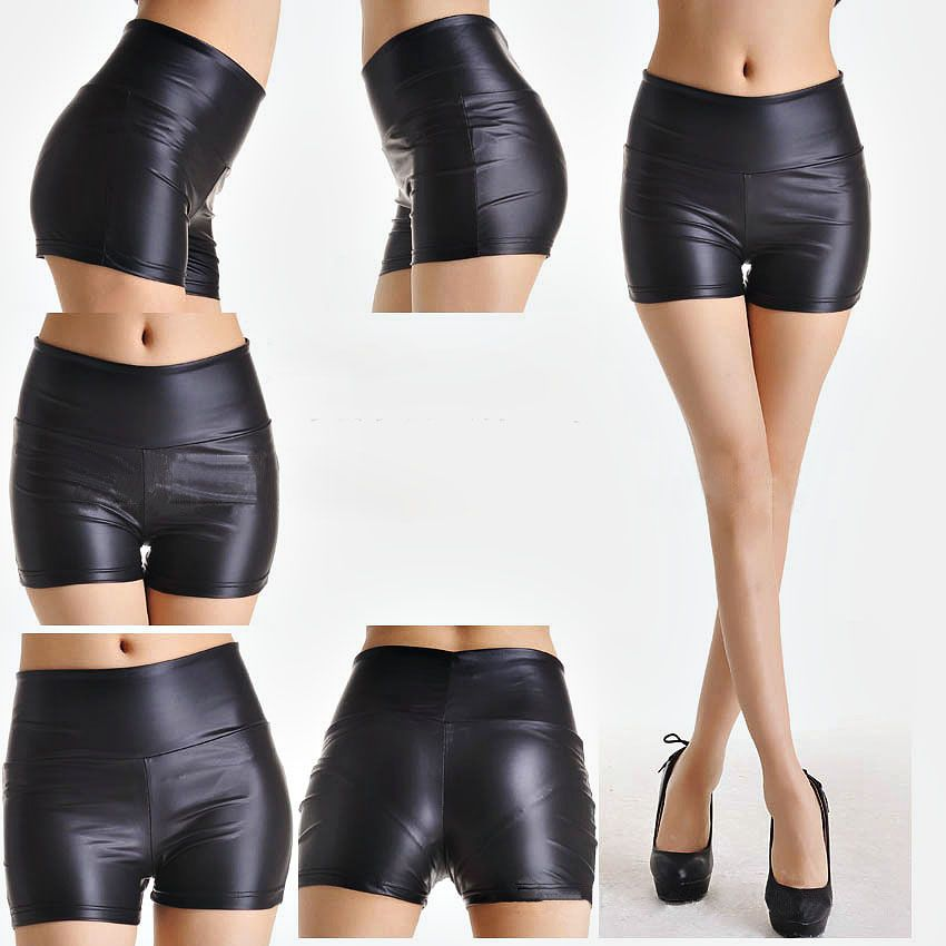 Hot Item High Waisted Black Fake Leather Shorts For Women Tight Skinny Black Faux Leather Hot Pants Xh 20 Womens High Waisted Shorts Leather Look Shorts Black Leather Shorts