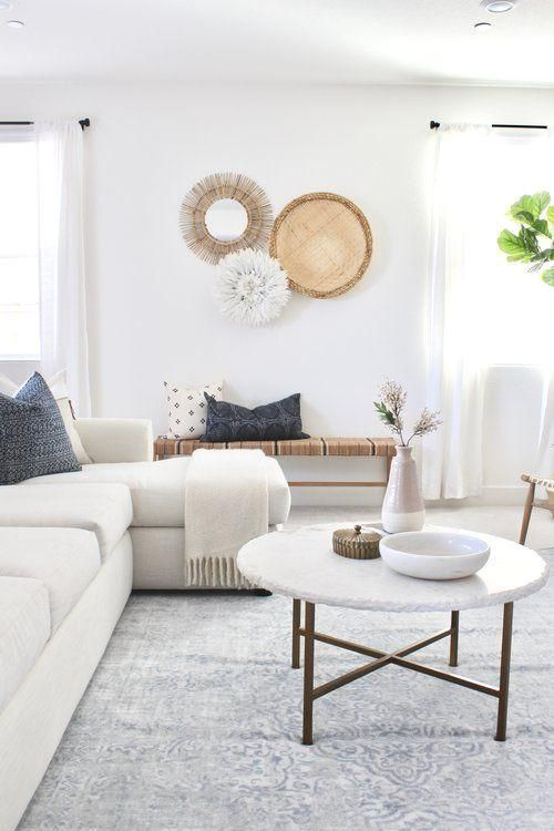 Photo of I love the neutral textiles with a touch of blue in this minimalist