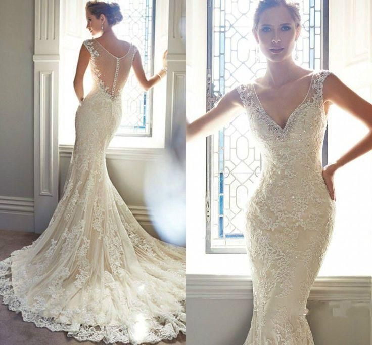 Vintage Ivory Lace Bridal Gowns Long Mermaid Wedding Dresses 6-8 ...