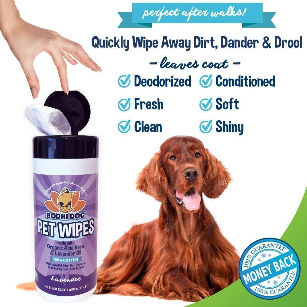 Pet Grooming Wipes, All Natural 100 Cotton Lavender and