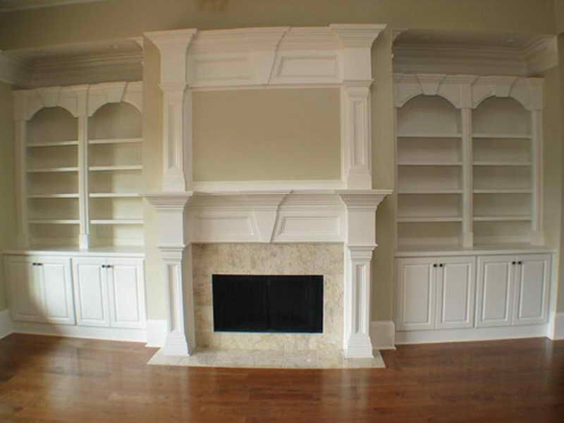 Double Mantle Fireplace: Double Mantle Fireplace With Bookcase ...