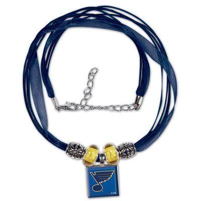 St. Louis Blues Ladies Lifetime Ribbon Necklace with Beads - Royal Blue