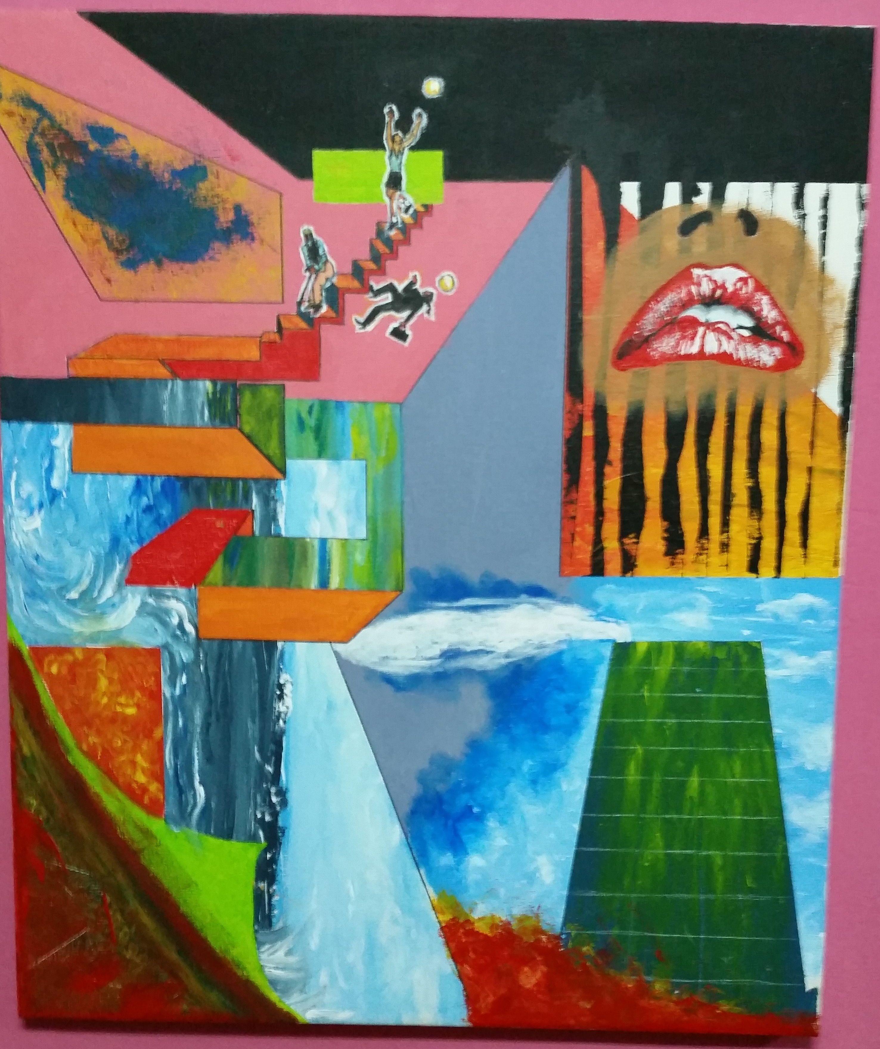 abstracto geométrico en acrílico sobre lienzo