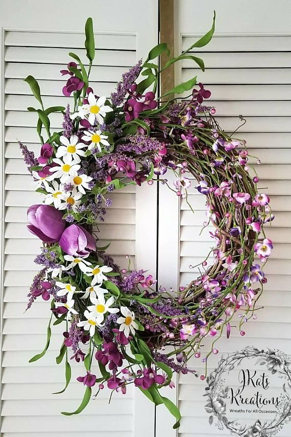 Purple spring floral grapevine wreath for front door easter wreath purple spring floral grapevine wreath for front door easter wreath summer wreath mothers day wreath floral home wall decor flower wreath mightylinksfo