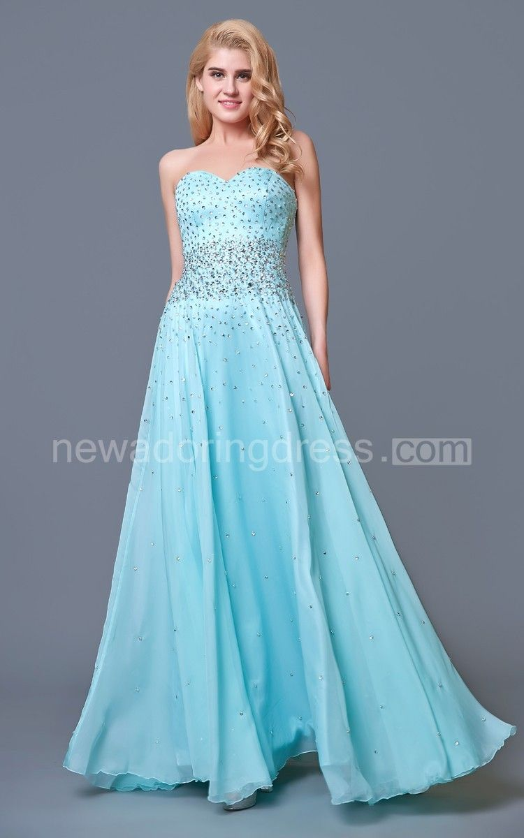 Glam chic beaded sweetheart layered aline chiffon prom gown prom