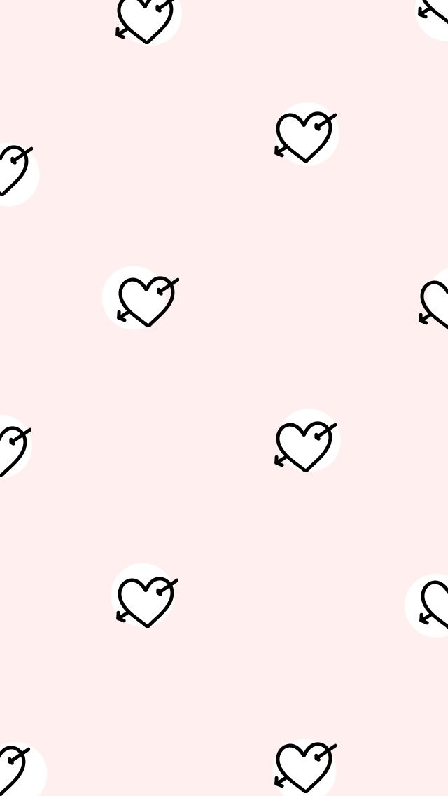 Blush Pink Black Hearts Arrows Cupid Iphone Phone Wallpaper