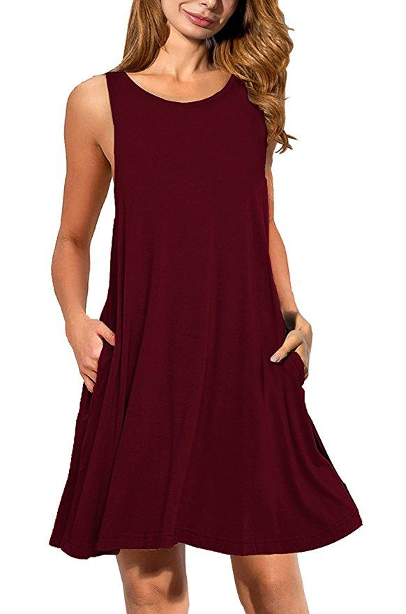 abf6dab86dc1 AUSELILY Women's Sleeveless Pockets Casual Swing T-shirt Dresses at Amazon  Women's Clothing store: