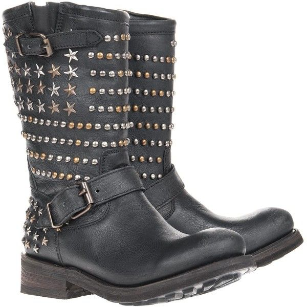 Ash Tennessee Black Biker boots with studs ($525) ❤ liked on Polyvore