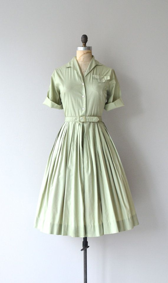 Green Apple dress vintage 1950s dress cotton 50s by DearGolden #vintagefashion1950s
