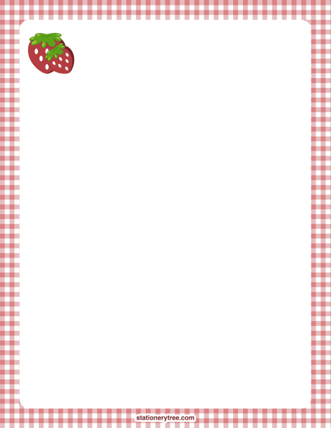 Printable Strawberry Stationery