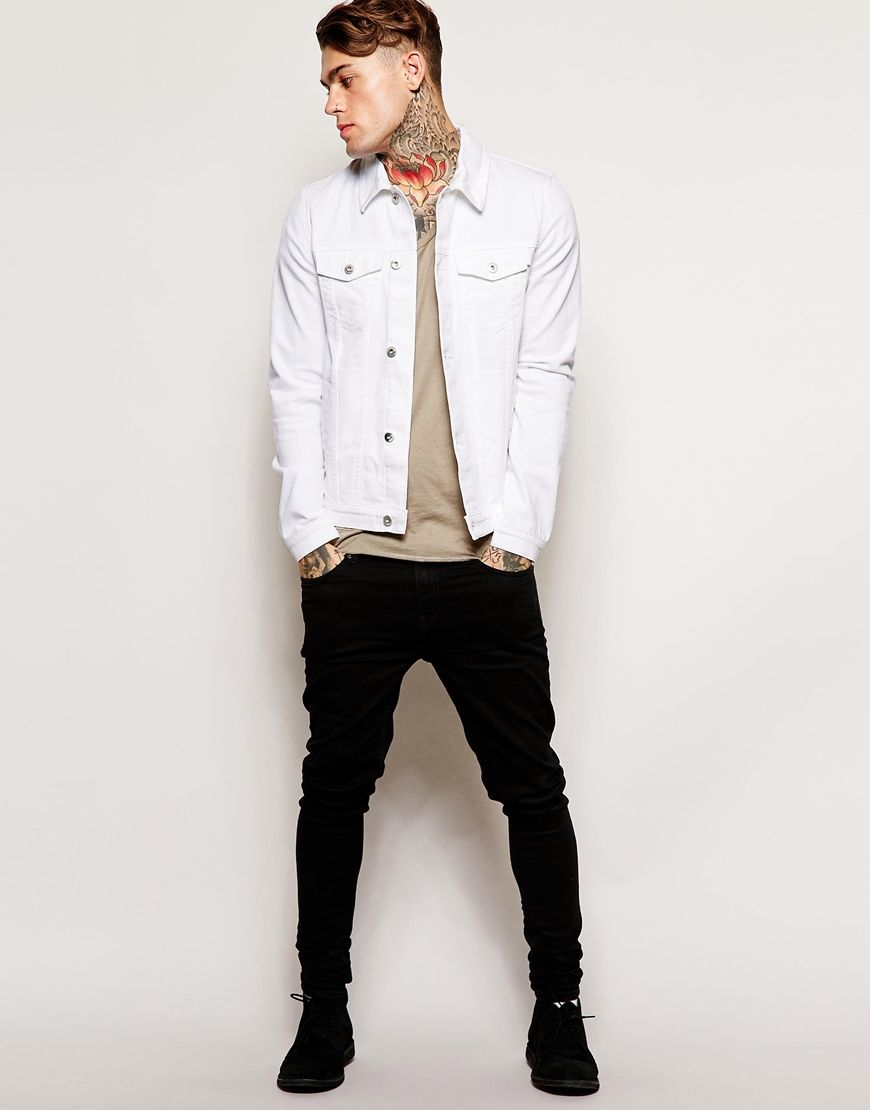 Stephen James Asos Denim Jacket In Skinny Fit Denim Jacket Men Outfit White Denim Jacket Outfit Jackets Men Fashion