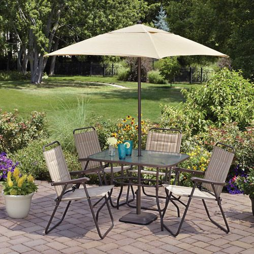 Delightful Mainstays Glenmeadow 6 Piece Folding Patio Set