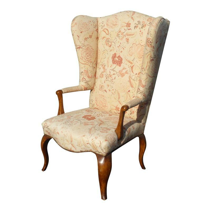 Unique Vintage French Country Floral Throne Wingback Accent Chair
