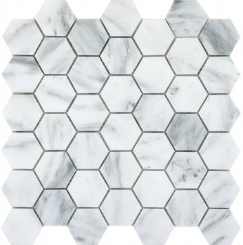 Emser Tile Natural Stone Ceramic And Porcelain Tiles Mosaics Gl Floor Wall Winter Frost Hexagon On Mesh