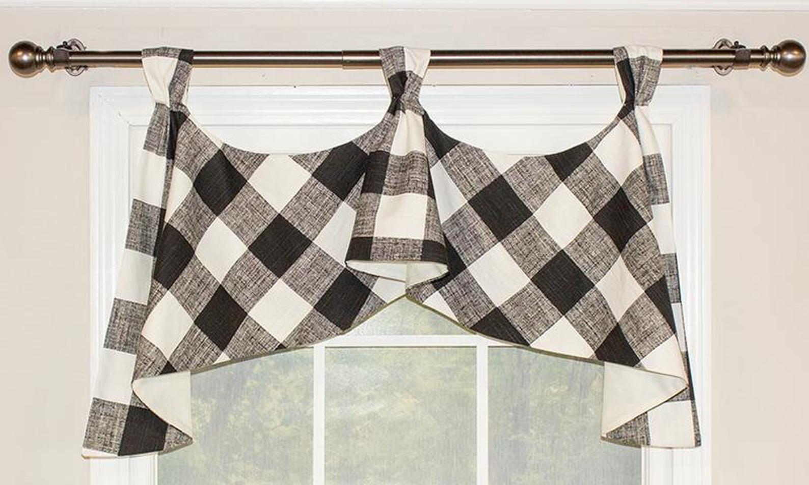Buffalo Check Tab Flounce Valance Panel Or Pillow In 2019 Decorative Curtain Rods Buffalo Plaid Curtains Plaid Curtains