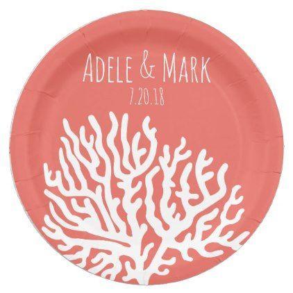Coastal White Sea Coral Coral Pink Wedding Paper Plate Wedding