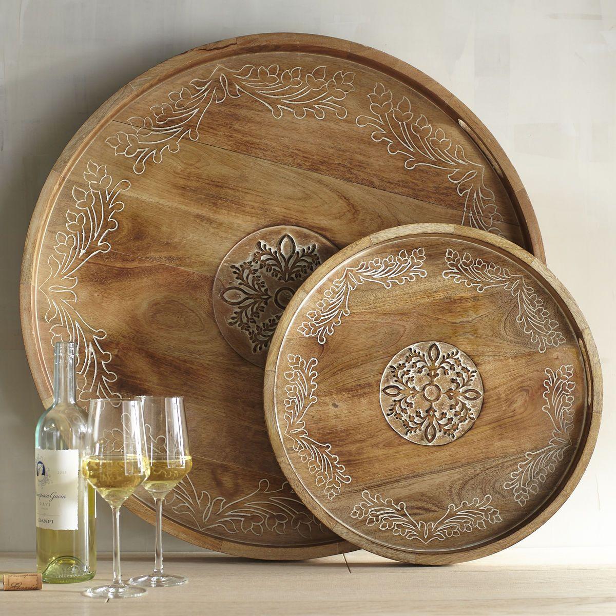 Tremendous Courtland Carved Round Trays Pier 1 Imports Round Tray Machost Co Dining Chair Design Ideas Machostcouk