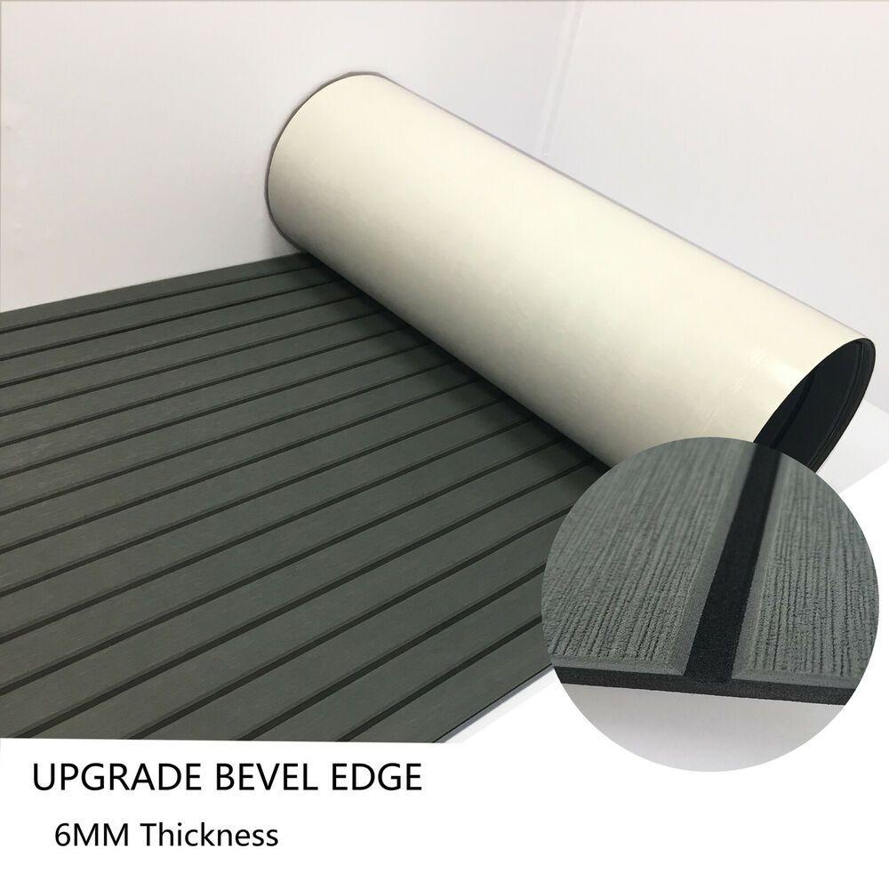 Charcoal Grey Teak Decking Sheet For Yacht Boat Marine Flooring Mat Bevel Carpet