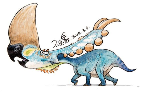 -160 by bu2ma on DeviantArt dinosaur cartoon character design paleo watercolor daily cute