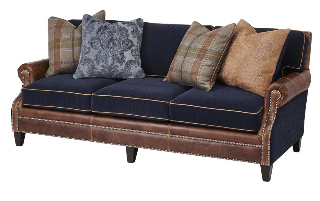 Cly Lodge Sofa Western Sofas And Loveseats Blue Fabric Sports Gentle Quilting Contrasting Welt Warm Tan Leather Accent An Array Of Decorative