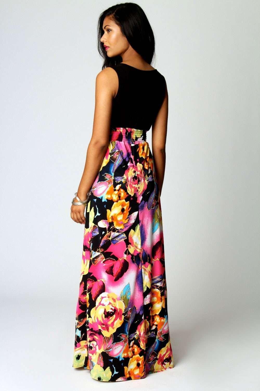 Petite Kiera Rose Print Maxi Dress at boohoo.com | Maxi Dresses ...