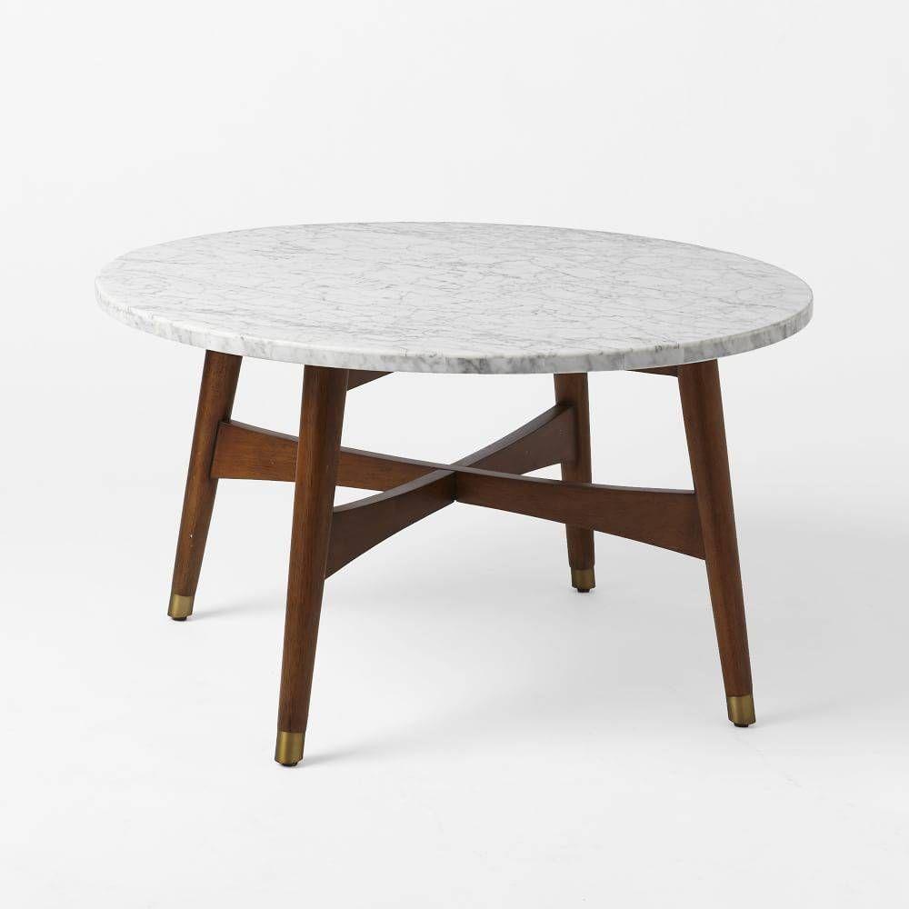 west elm Reeve Mid-Century Coffee Table, Marble/Walnut | Domino